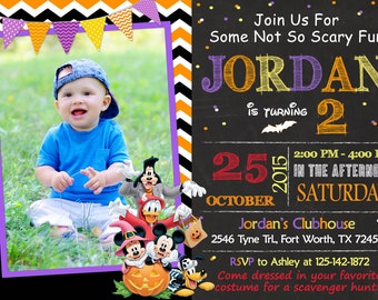 Mickey Mouse Halloween Invitation, Mickey Mouse Halloween Birthday, Mickey Mouse Halloween Party
