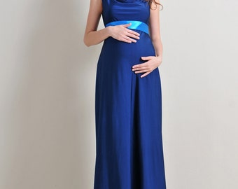 www.mum2be.com.au , Maternity Evening Dress for party, baby shower, wedding, special occasions ,blue
