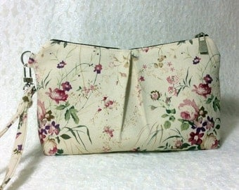 White small pouch Small zippered pouch Pink floral zipper Pouch White small pouch bag Personalized cosmetic Bag