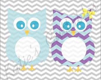Owl Monogram Frame, Chevron Owl Monogram Frame.SVG/.DXF/.EPS Files for EveryVinyl Cutting Machine