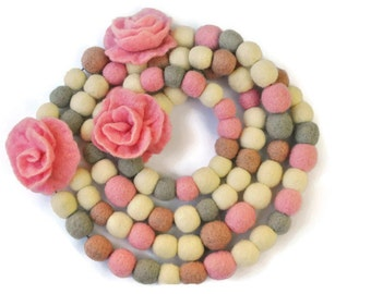 Scarf-necklace  Pink roses  wool felts gray