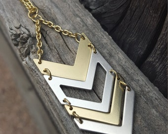 Gold and Silver Chevron Pendant Necklace on Gold Chain