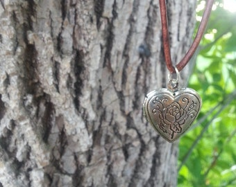 Heart Charm Locket Choker on Tan or Brown Leather Cord