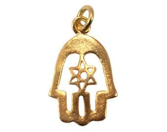 Handmade 24 K Gold Vermeil Hamsa Hand Charm Pendant or Earring Drops, Handmade Findings - 1 pc.