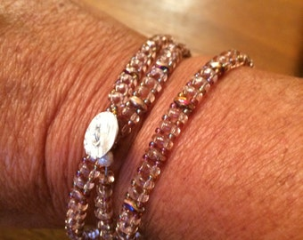 Light pink and brown  wrap bracelet