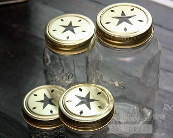 Gold Star Lid for Regular Mouth Mason Jars 4 pack | Candles | Potporri | Mason jar Decor | Kitchen | Bathroom | Shaker Lid | Decorative Lids