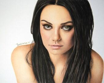 Mila Kunis Original Fine Art Colored Pencil Drawing