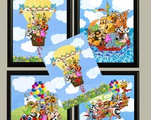 ZOO Set BOWS on BALLOON Four Adorable Nursery or Childs room 8X10 Digital Download - Matching Set & Personalization also Available