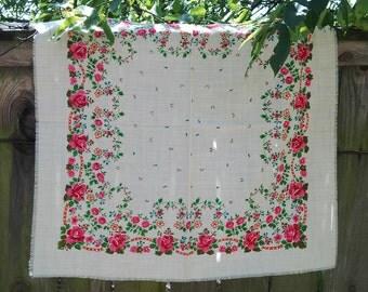 Vintage White Shawl 80s, floral scarf, folk wool scarf, folk russian scarf