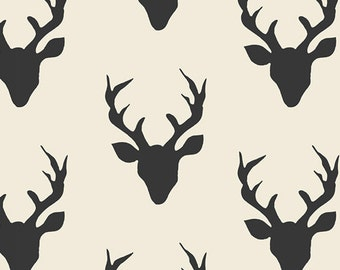 Buck Forest Night - Art Gallery Fabric Hello' Bear Collection -  HBR-5434 - Black and Cream Deer Head