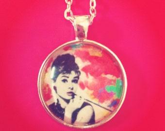 Audrey Hepburn Glass Cabochon Necklace