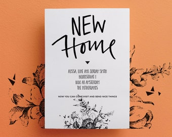 Printable Custom Moving Announcement - Hand Lettered - New Home - A6 - High Quality PDF - DIY Printable
