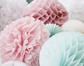 "Paper Pom Poms - 6"" 10"" Flower Wedding Party Baby Girl Room Nursery proposal Decoration (price per piece)"