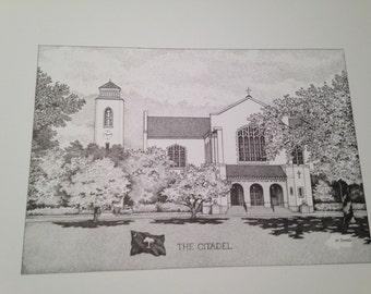Citadel 11x14 print of Summerall Chapel