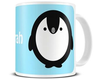 Personalised Cute Cartoon Penguin Coffee Mug - penguin gifts - personalized mug for mum - kids mug, christmas mug - MG090
