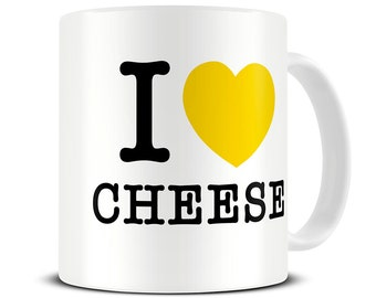 I Love Cheese Coffee Mug - funny cheese gift - MG050