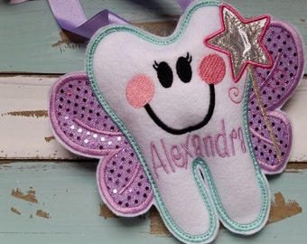 Tooth Fairy Pillow~ Girl~Personalized ~Girls Tooth Fairy Pillow with a Wand~Tooth Pillow~Gift~Flower Girl Gift~Purple~Sparkly~Birthday Gift