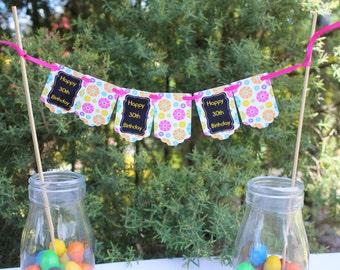 Mini Cake Bunting - Aged Birthday  Celebration - Cake Decoration. 30th, 40th, 50th, 60th