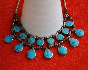 Turquoise Cassidy Bib Necklace- Afghan Tribal Jewelry- Kuchi Necklace- Ethnic Necklace- Boho Gypsy Necklace- Hippie- Nomadic