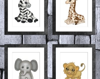 Safari Baby Animal Print Set of 4