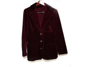 Vintage 1980s Velvet Burgundy Skirt Suit Women's Blazer and Skirt