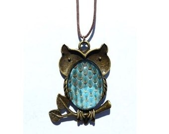 Owl Necklace with Real Snakeskin- Blue