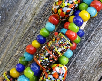 African exchange bead necklace colorful necklace glass bead necklace trade beads multi color beads recycled glass bead DD157