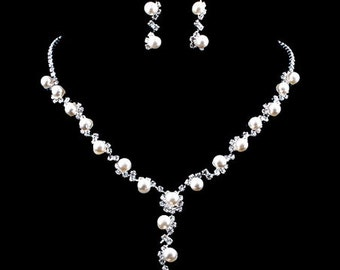 Pearl and Rhinestone Fashion Wedding Necklace Bridal Necklace