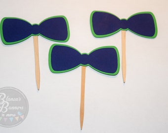 12 Bow Tie Cupcake Toppers, Boy or Girl Cupcake Decorations,Two Color Dual Layer Made To Order Toppers