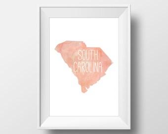 South Carolina State Pink Watercolor Printable Art, South Carolina Print, South Carolina Art, Modern Art,