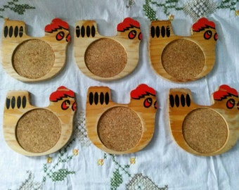 Vintage Rooster in a coop wooden coasters set of 6