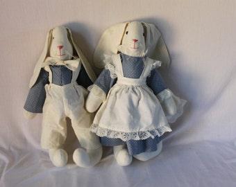 Adorable Vintage Handmade Country Bunny Rabbit Pair Stuffed Animals Hares