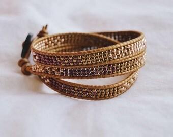 Gold metallic seed bead wrap bracelet