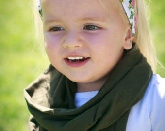 Olive green toddler infinity scarf