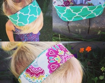 Reversible teal quatrefoil and purple floral print headband size preemie to adult
