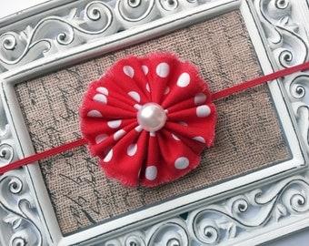 Minnie mouse headband, red flower lace headband, minnie mouse shabby chic flower, red shabby chic flower