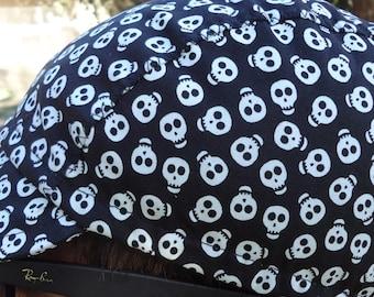cycling cap cotton print skully size M/L