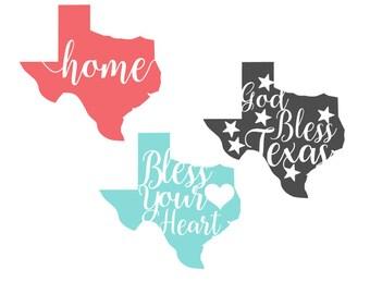 God Bless Texas - Home - Bless Your Heart Vinyl Decal
