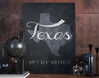 Chalkboard State art Texas art Texas wall art State map Texas print Texas wall art Texas map USA art Map Wall Decor art print