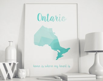 State art Ontario state map Canada map Canada art Ontario print Ontario art Ontario wall art Ontario map USA art Map wall decor art print