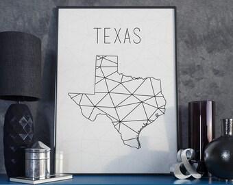 Texas wall art Texas decor Texas print Texas printable Texas art Texas map USA wall art USA Map decor Geometric art Scandinavian style
