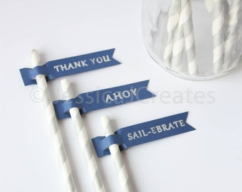 Drinking Straw Flags - Paper Straws with Flags - Custom Flags - Silver Straws - Baby Shower Straws - Paper Straw Flags