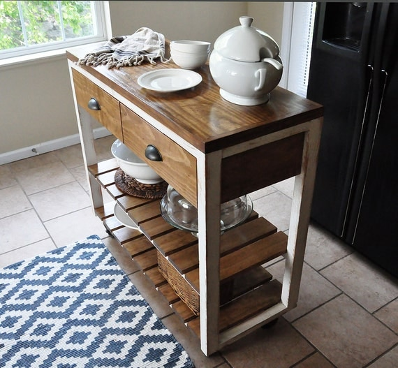 Industrial Rolling Kitchen Cart: Kitchen Island Cart With Industrial Wheels. By