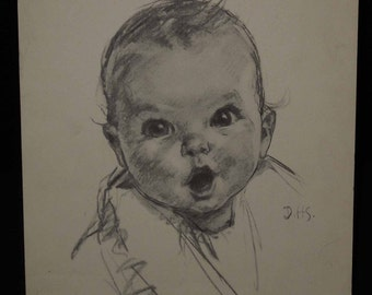 """Vintage 8x10"""" Print - The Gerber Baby Copyright 1931 signed DHS (Dorothy Hope Smith)"""