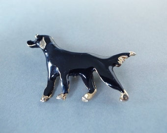 Vintage Enamel Smiling Black Dog Pin / Brooch