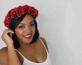 The Ava Red Rose Flower Crown, Valentine's Day, Coachella, Festivals,