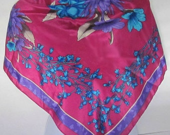 Large Size Poly Scarf w/ Floral Design, Magenta Turquoise Purple Brown, Bluebells Dahlias Poppies, Shawl Wrap, Hand Rolled