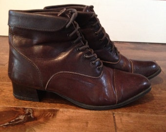 Vintage Brown Leather Booties Sz. 7.5