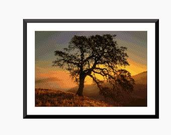 Cross Stitch Pattern, Modern Cross stitch - Tree at Sunrise - Instant download PDF