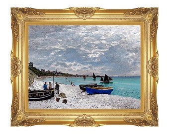 Framed Art Print Beach at Sainte-Adresse Claude Monet Painting Reproduction Beach Seascape Canvas Artwork - Small to Large Sizes - M00267
